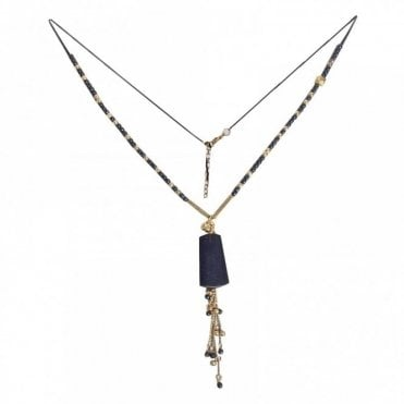 Gold & Navy Long Beaded Necklace