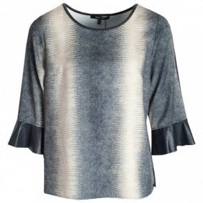 Marie Mero Gold & Navy Three Quarter Sleeve Top