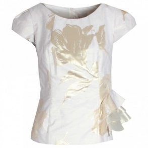Gold Printed Capped Sleeve Fitted Top
