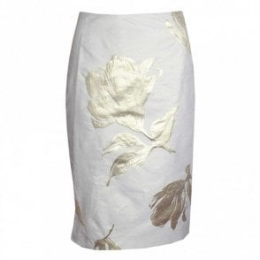 Gold Printed Straight Skirt