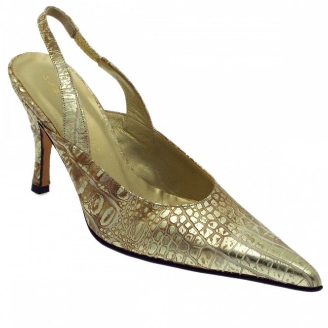 Sabrina Chic Golden Croc Sling Back Shoe
