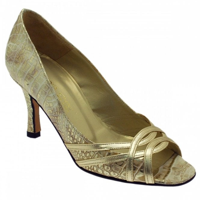 Sabrina Chic Golden Croc With Peep Toe