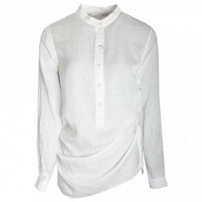 Grandad Style Collar Long Blouse