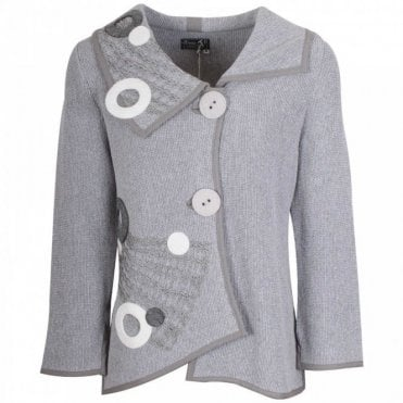 Grey Button Detail Knitted Cardigan