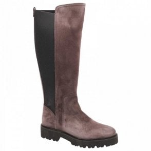 Grey Flat Stretch Panal Long Winter Boot
