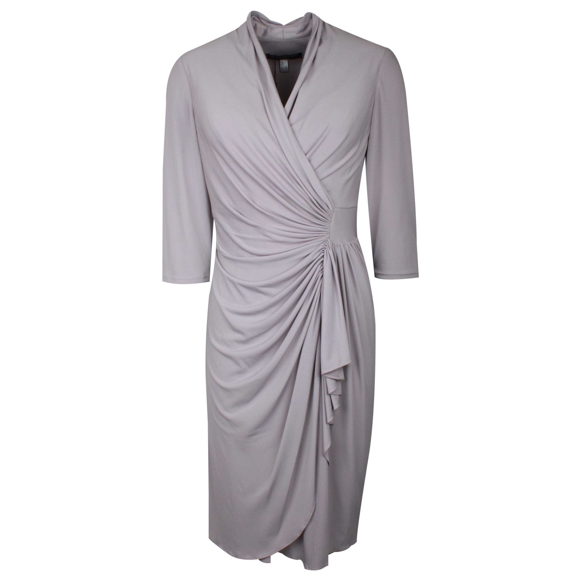 Grey French Jersey Drape Detail Dress By Ronald Joyce At Walk In Style