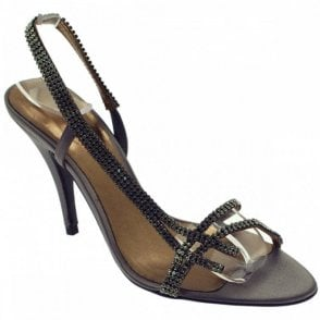 Magrit Grey Satin Diamonte Sling Back
