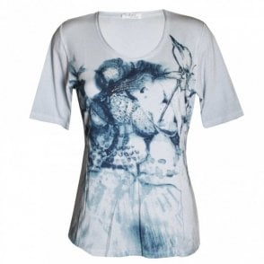 Faber Grey Short Sleeve Printed T- Shirt