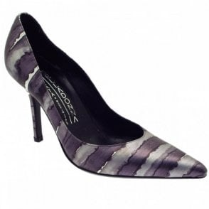 Grey Silver Court Shoe