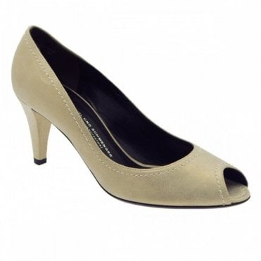 Grey Style Suede Peep Toe Court Shoe