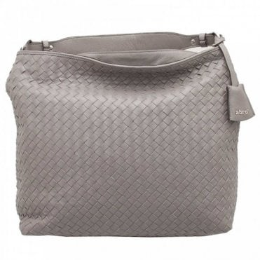 Grey Woven Leather Shoulder Handbag
