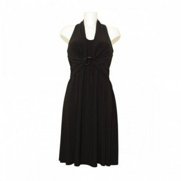 Halter Neck Dress With Buckle Waist