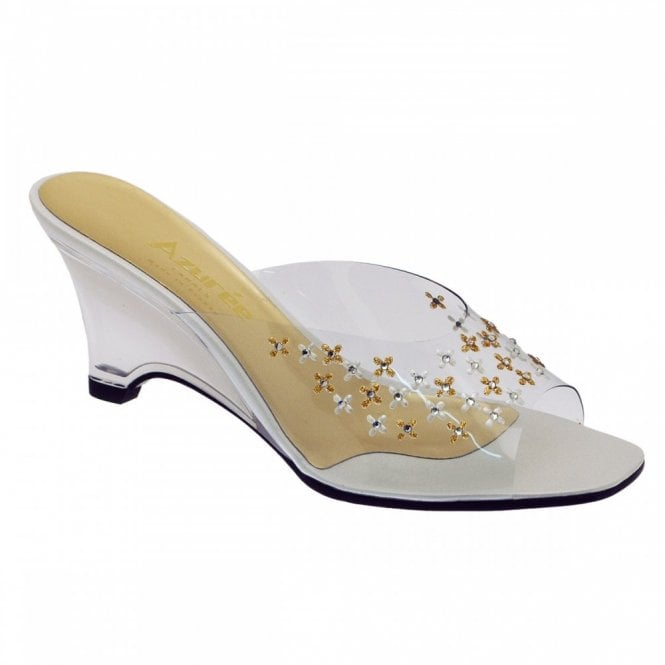 Azuree Hand Painted Slip On Mule Wedge