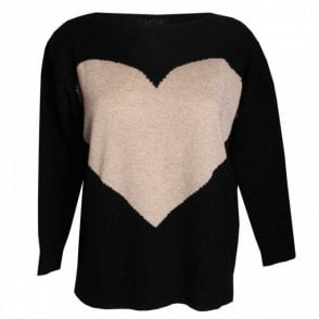 Latte Heart Design Round Neck Knit Jumper