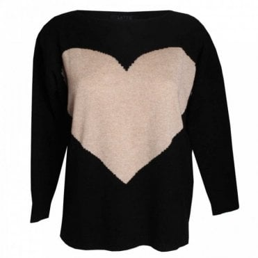 Heart Design Round Neck Knit Jumper