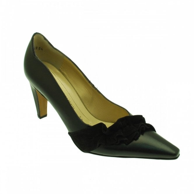 Peter Kaiser Heel Court Shoe With Suede Frill Detail