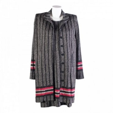 Isabel De Pedro Herringbone Contrast Stripe Long Jacket
