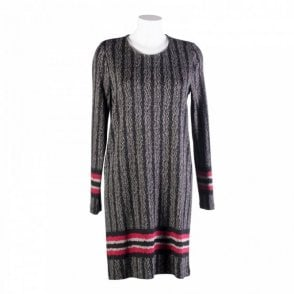 Herringbow Crew Neck Dress