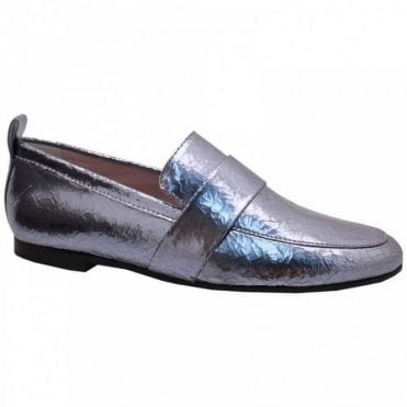 High Front Metallic Slipon Moccasin Shoe
