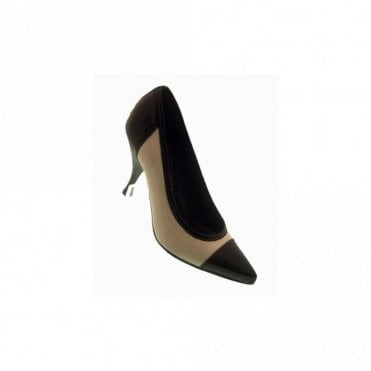 High Heel Patent Two Tone Court Shoe