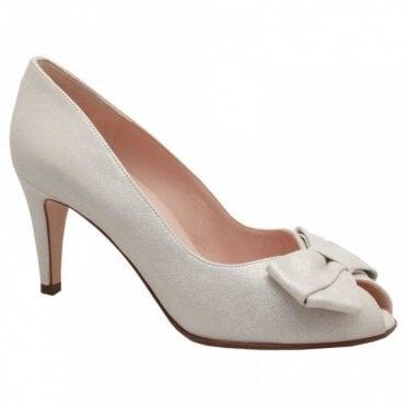 High Heel Peep Toe Court Shoe With Bow