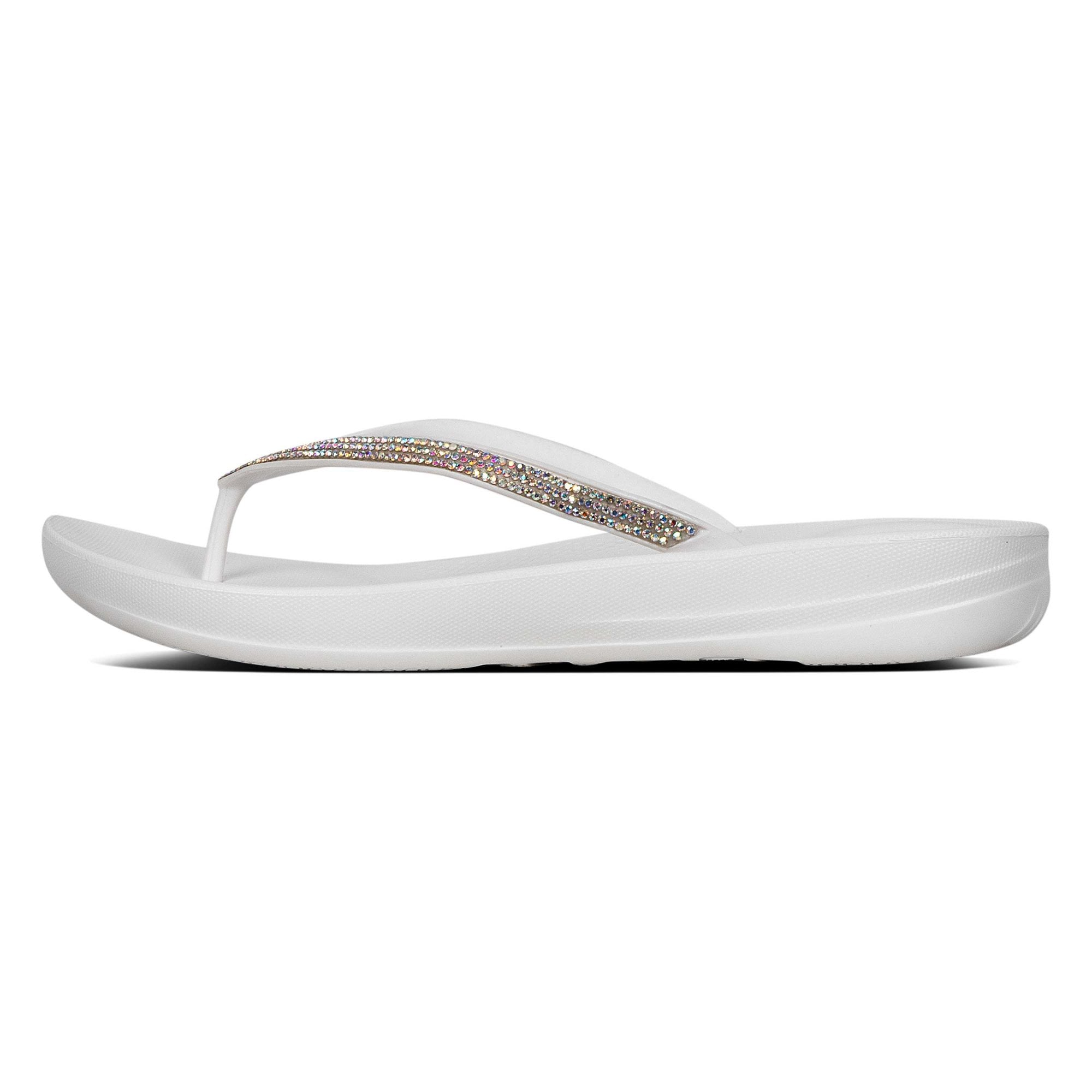 black flip flops with sparkles