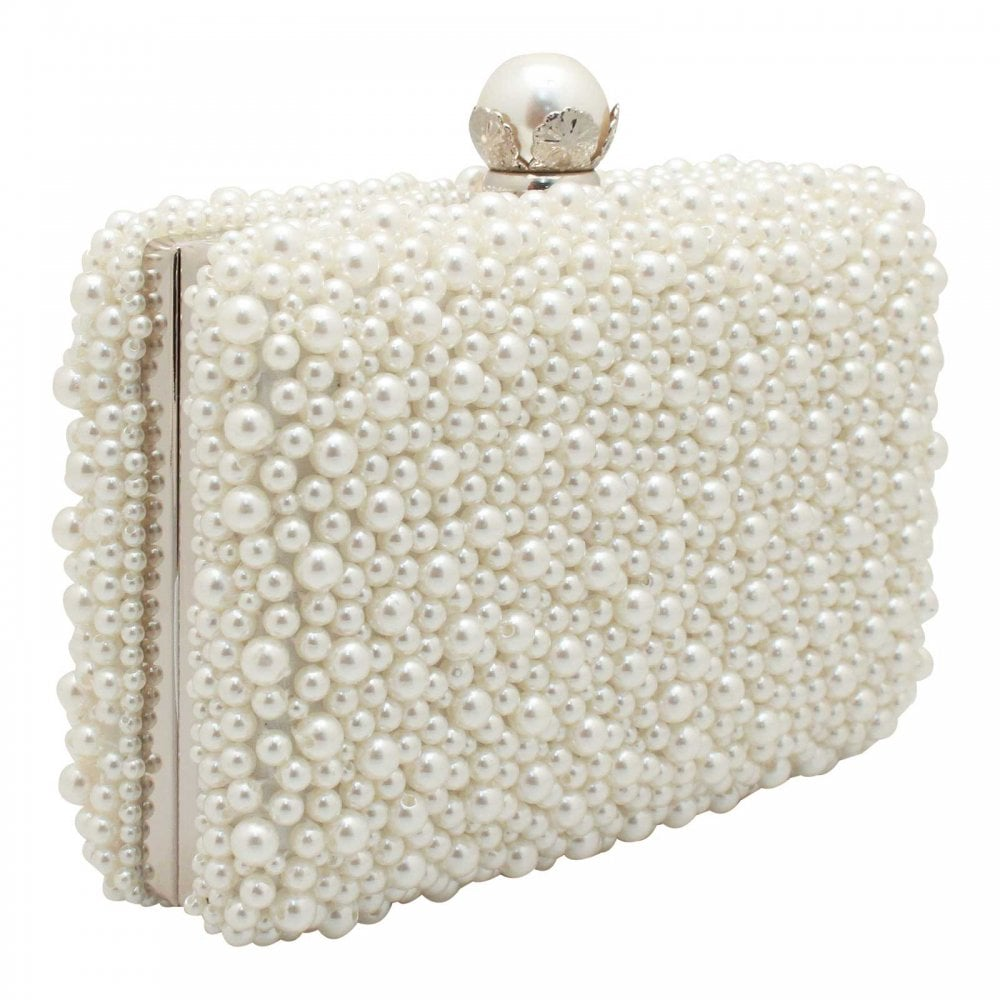Ivory Pearl Box Clutch Handbag By Peach At Walk In Style