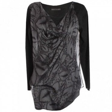 Jersey And Silk Long Sleeve Top