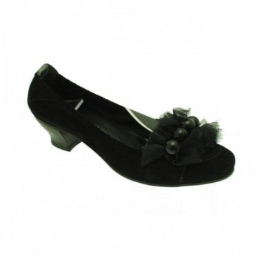Low Heel Frill And Bead Detail Ballerina