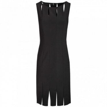 Keyhole & Slit Sleeveless Shift Dress