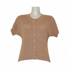 Knit Button Cardigan With Short Sleeves