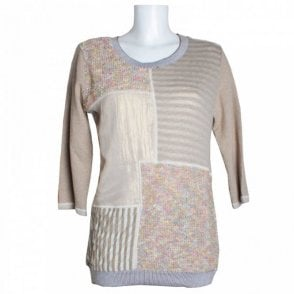 Knit Patchwork Panel Style Long Top