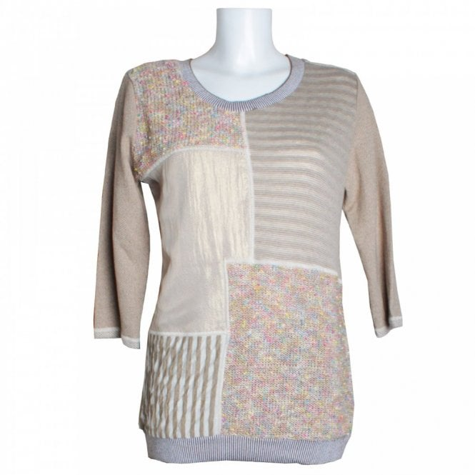 Latte Knit Patchwork Panel Style Long Top