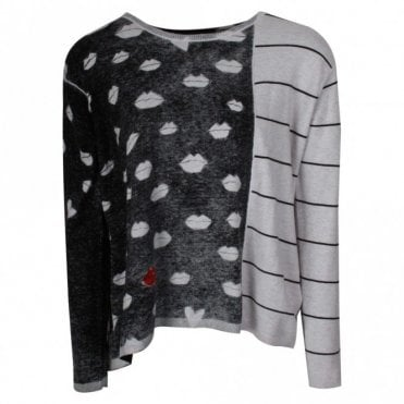 Oui Knitted Cotton Lip Print Jumper