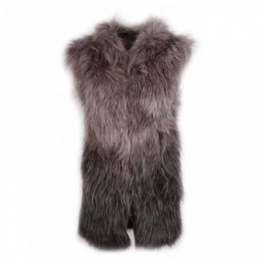 Dom Goor Knitted Gilet In Genuine Grey Racoon Fur