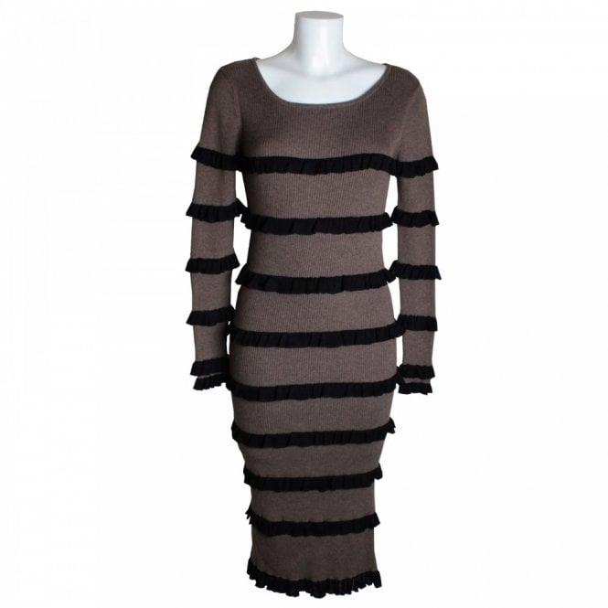 Knitted Long Sleeve Ruffle Dress