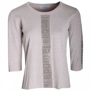 La Moda Print 3/4 Sleeve Knitted Jumper