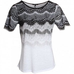 Leo Guy Lace Detail Short Sleeve Top