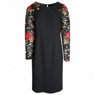 Lace Flower Detail Shift Dress