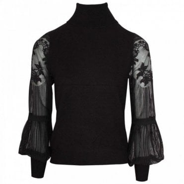 Lace Sleeve Black Roll Neck Jumper