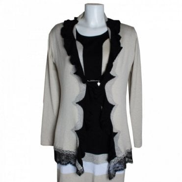 Lace Trim Frill Collar Knitted Cardigan