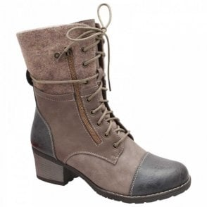 Lace Up Calf Boot With Low Block Heel