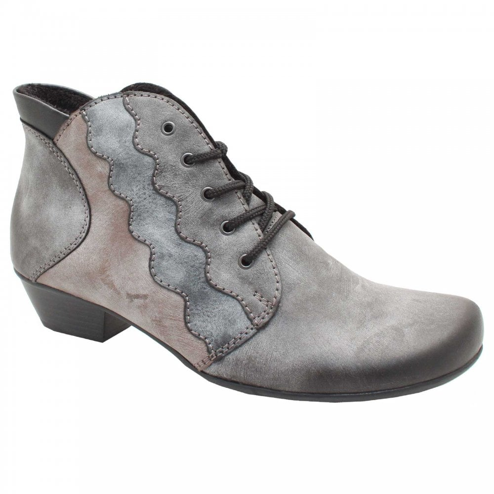 d8db8096ca89 Lace Up Low Block Heel Grey Ankle Boots By Rieker At Walk In Style
