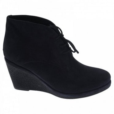 Lace Up Suede Wedge Ankle Boot