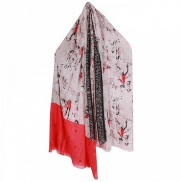 Oui Ladies Long Illustrated Scarf