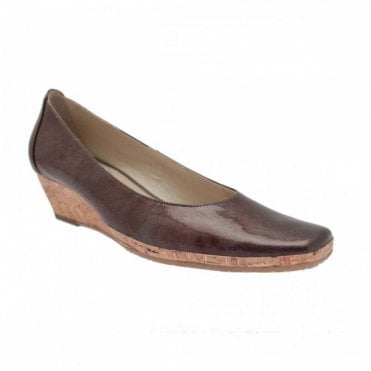 Ladies Low Cork Heel Wedge Shoe