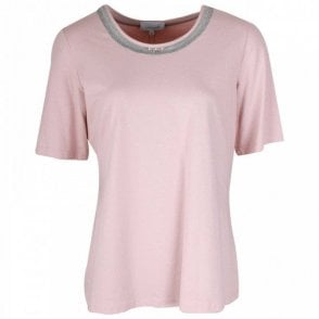Just White Ladies Pink Short Sleeve Cotton T-shirt