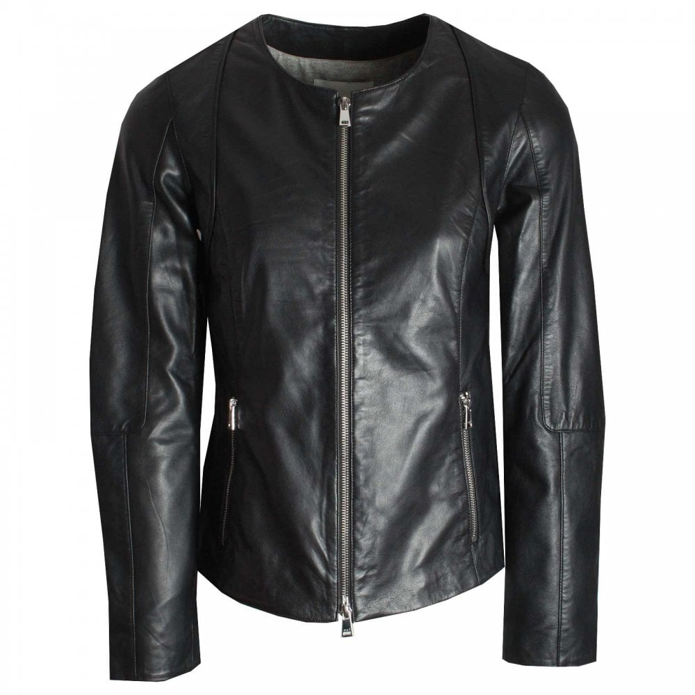 Ladies Round Neck Leather Jacket By Oui At Walk In Style