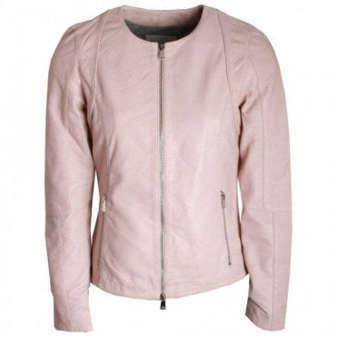 Ladies Round Neck Leather Jacket