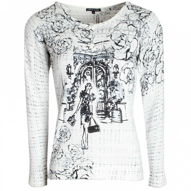 Leo Guy Lady Print Long Sleeve Knitted Jumper